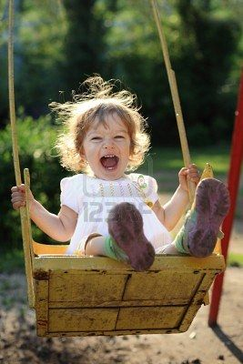 Laughing Child On Swing In Summer Park Summer Activities For Kids Children Summer Activities