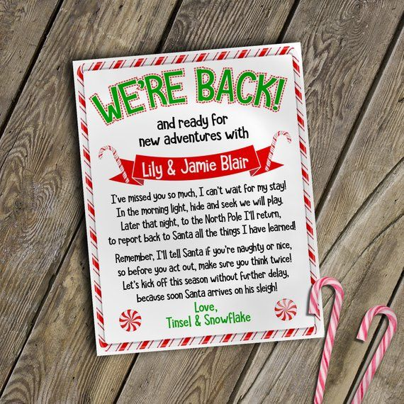 personalized elf letter | welcome back letter from two elves christmas elf letter to kids from elf | downloadable elf letter | elf letters