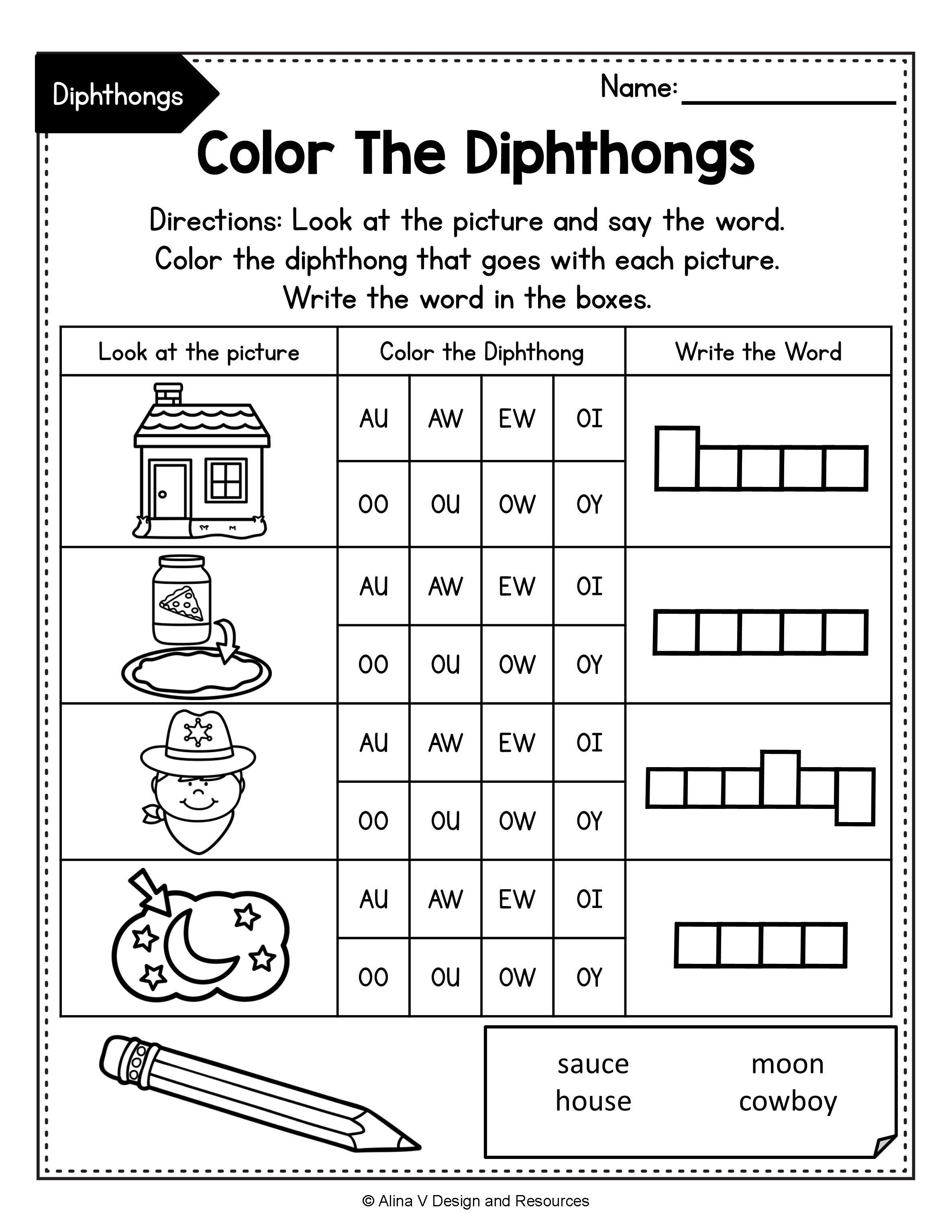 Diphthong Activities Bundle Diphthong Activities Vowel Diphthongs Worksheets In 2020 Phonics Activities Phonics Phonics Worksheets