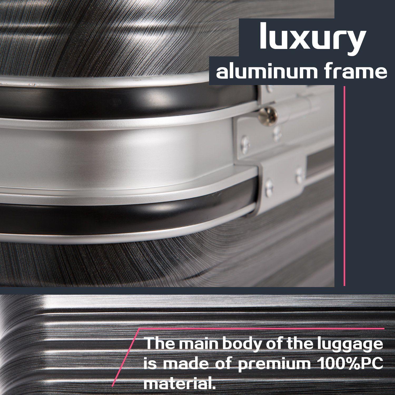 9173eef37627 Coolife Luggage Aluminium Frame Suitcase 3 Piece Set with TSA Lock ...