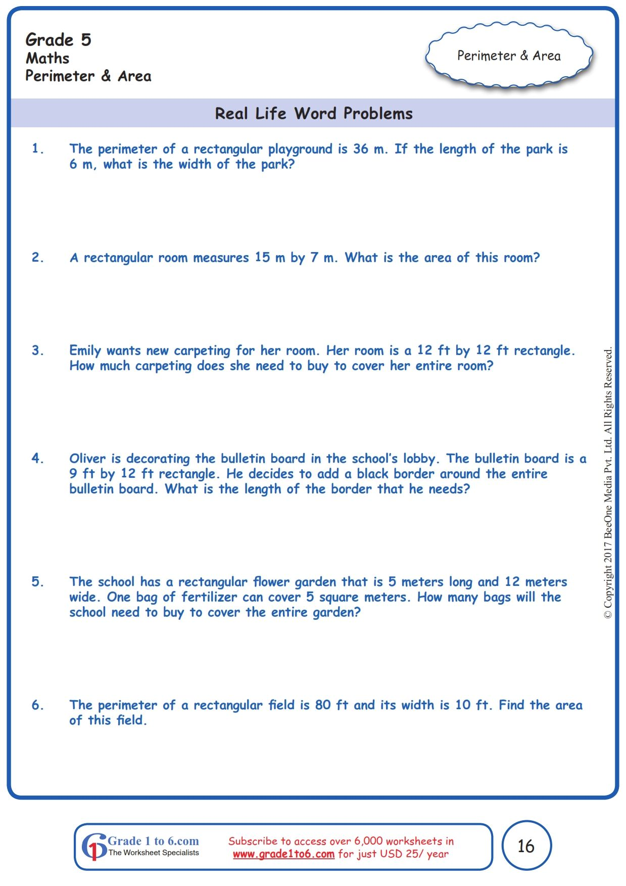 Worksheet Grade 5 Math Real Life Word Problems In
