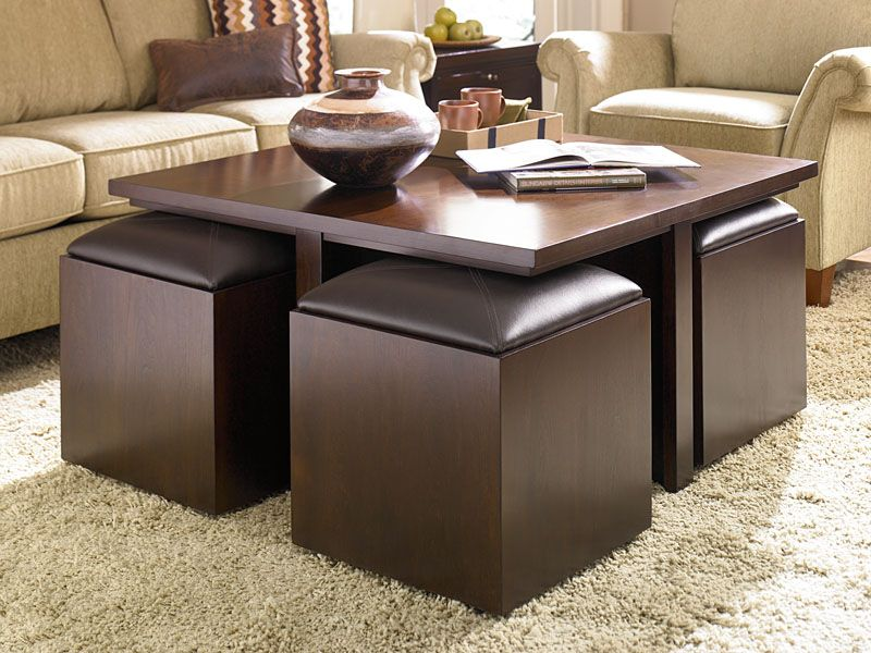 Furniture Rectangle Coffe Table With Storage Ottomans Underneath On Beige Rug Get The Best Coffee For Living Room