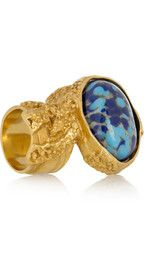 YVES SAINT LAURENT, Arty gold-plated glass ring