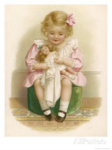Маленькая девочка в розовом платье с розовой лентой в волосах платья своей куклы Жикле печать