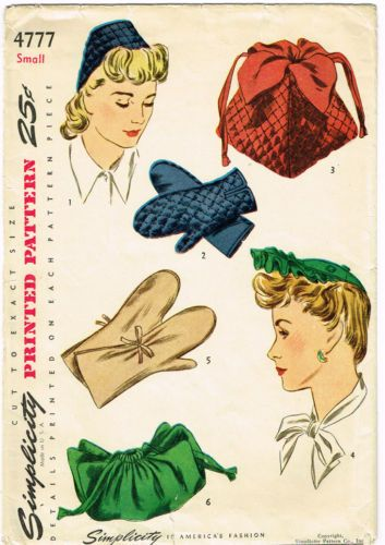 1940s Vintage Simplicity Sewing Pattern 4777 Uncut WWII Hat Purse ...