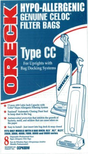 Oreck Commercial CCPK8DW Type CC High Filtration Genuine Celoc Filter Vacuum Bag for XL Model Vacuum Cleaners, 8 qt Capacity (Pack of 8) - http://www.alertwebmarketing.net/oreck-commercial-ccpk8dw-type-cc-high-filtration-genuine-celoc-filter-vacuum-bag-for-xl-model-vacuum-cleaners-8-qt-capacity-pack-of-8.html