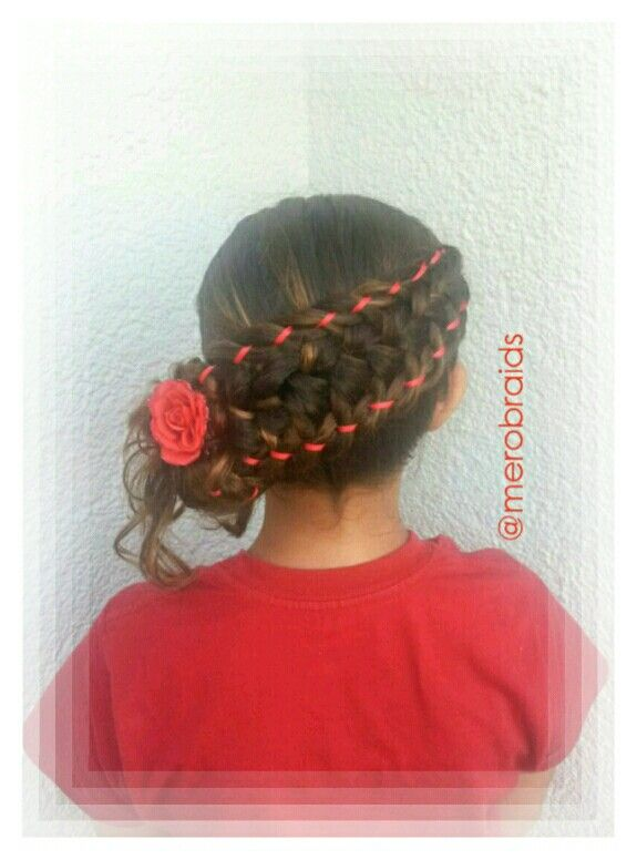 Diagonal feathered frenchbraid with 4strand braid accents