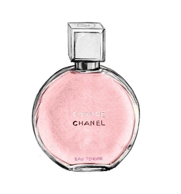 Watercolor Fashion Illustration Chanel Perfume Print Chance Eau Tendre Pink Art Print Chanel Art Perfume Watercolor Fashion