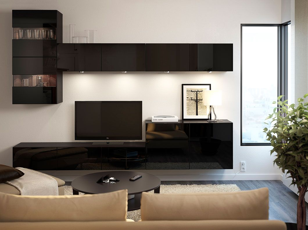 Oma Salones BestÅ Black High Gloss Tv Bench And Wall Cabinets With