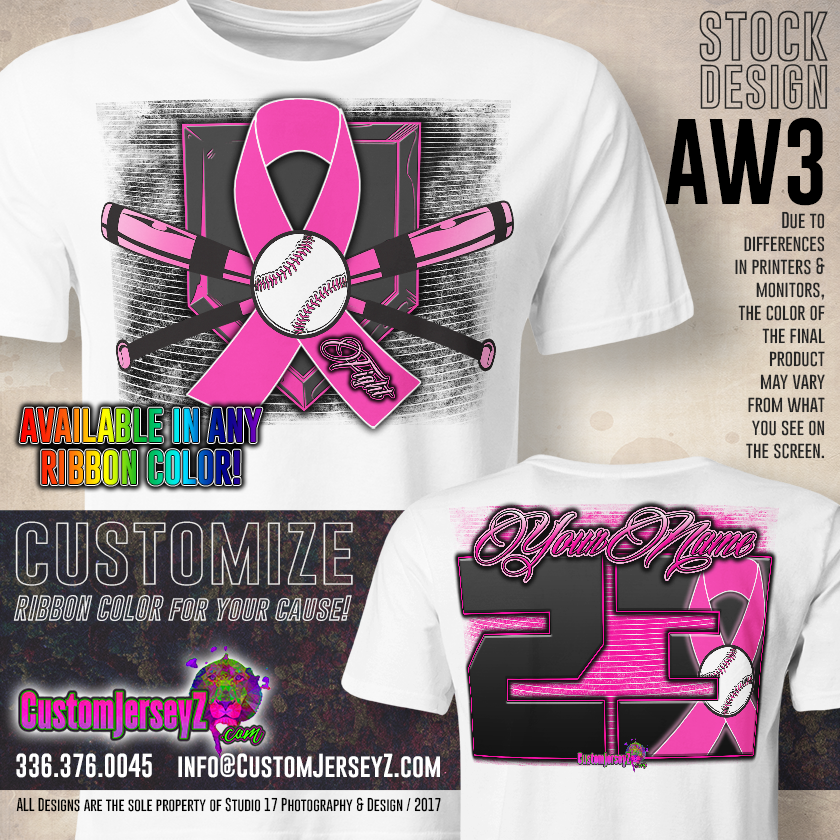 b42ced8d Custom Sublimated Awareness dri-fit Softball & Baseball Jerseys for men,  women & youth. Breast Cancer Ribbon.