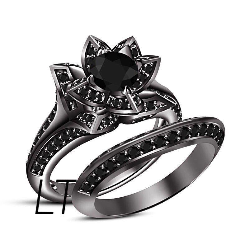Disney's The Nightmare Before Christmas Sally's Rose Inspired 2.75 Cts Black Swarovski Diamonds on Black Gold Engagement Ring Set by LakewoodTreasures on Etsy https://www.etsy.com/listing/256969044/disneys-the-nightmare-before-christmas