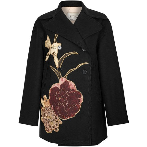 Valentino Floral-appliquéd wool coat (€3.320) ❤ liked on Polyvore featuring outerwear, coats, wool coat, embroidered coat, woolen coat, double breasted wool coat and floral coat