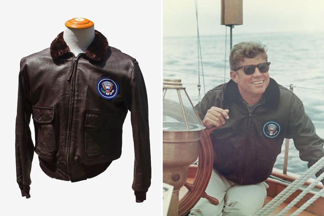John F Kennedy S Leather Bomber Jacket This All Black Bomber Was Worn By The 35th President Of The United States Leather Bomber Jacket Leather Bomber Jackets [ 725 x 1087 Pixel ]