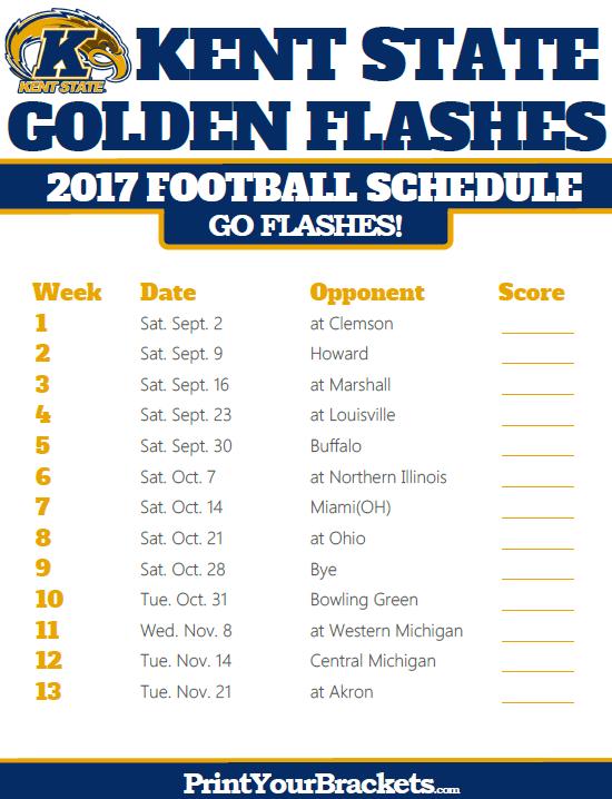 2017 Kent State Golden Flashes Football Schedule Baylor Bear Georgia Tech Football Baylor