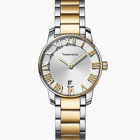 d35d7657d3f Relógio feminino Atlas™ 2 Ponteiros 29 mm em aço inoxidável e ouro 18k.