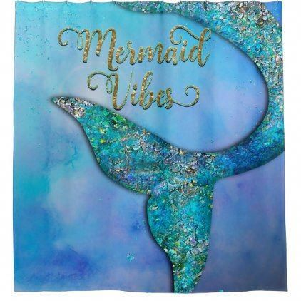 Sparkly Ocean Mermaid Fin Tail Enchanted Shower Curtain   Zazzle.com