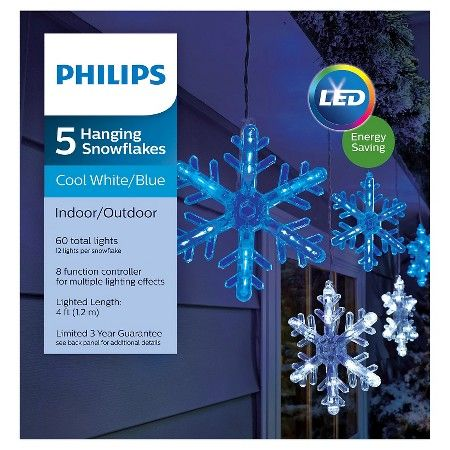Philips 5 Ct Hanging Snowflake Icicles Lights White Blue