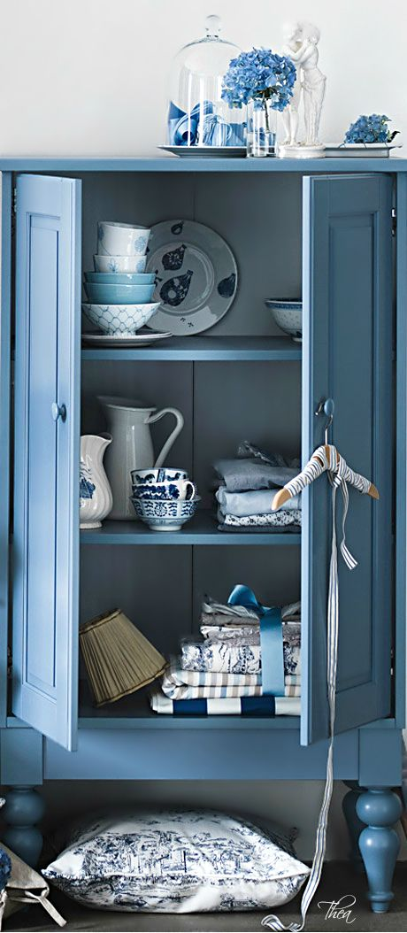 Linen cabinet - Vintage & antique blue cottage home decor from #RubyLane  @rubylanecom www.rubylane.com - Linen Cabinet - Vintage & Antique Blue Cottage Home Decor From