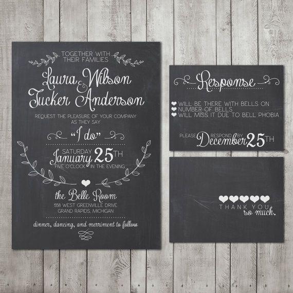 Diy Chalkboard Wedding Invitations: Wedding Invitation Suite Chalkboard