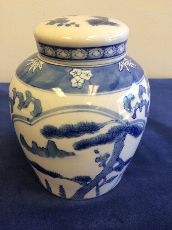 Vintage blue & white chinoiserie vase w/lid on Etsy, $18.00