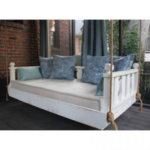 Ridgidbuilt New Orleans Hanging White Porch Swing Bed Porch Swing Bed Daybed Swing Outdoor Daybed
