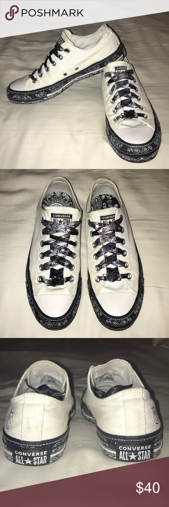 Converse X Miley Cyrus Chuck Taylors Miley Cyrus Smiley Face Branding At Heel Lace Closure With Metallic Laces Chuck Taylors Womens Shoes Sneakers Converse