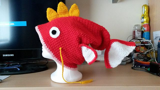 FREE CROCHET PATTERN! OMG! LOVE THIS!!! Magikarp Inspired Hat pattern by  The Craft Burrow 9f5ea85bc50