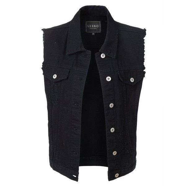 0afe2d04cb70f LE3NO Womens Vintage Oversized Distressed Sleeveless Denim Vest (34 AUD) ❤  liked on Polyvore featuring outerwear