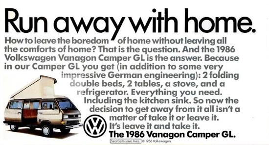 1986 Vw Vanagon Westfalia Ad Vw Vanagon Volkswagen Westfalia
