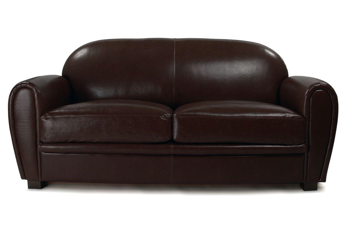 Changer La Couleur D Un Canapé En Cuir canapé club convertible cuir marron foncé 3 places - cuir de