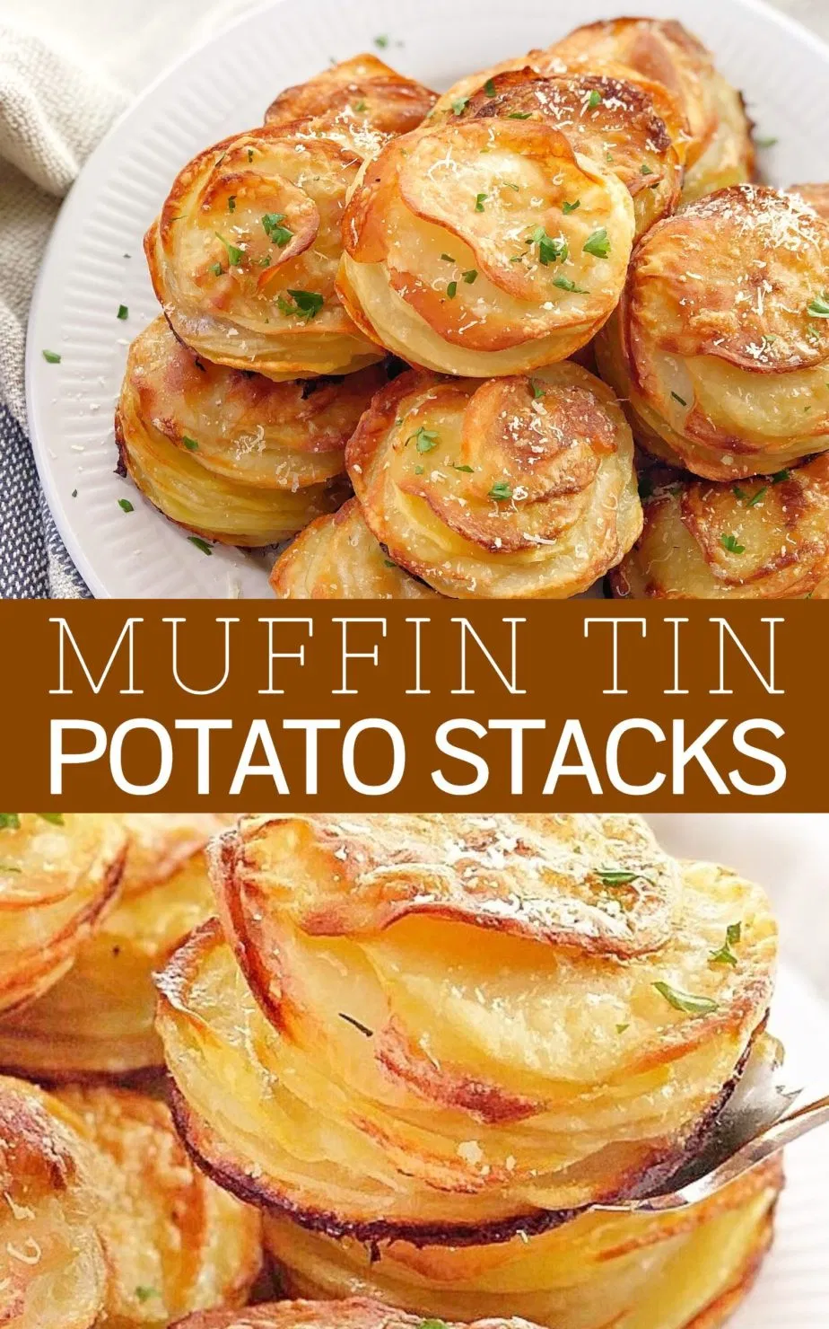 Muffin Tin Potato Stacks - these are like little individual serves of au gratin potatoes! Super easy, they are made in a muffin tin. The whole family will go made for these! #chefnotrequired #muffintinrecipes #muffinssalés