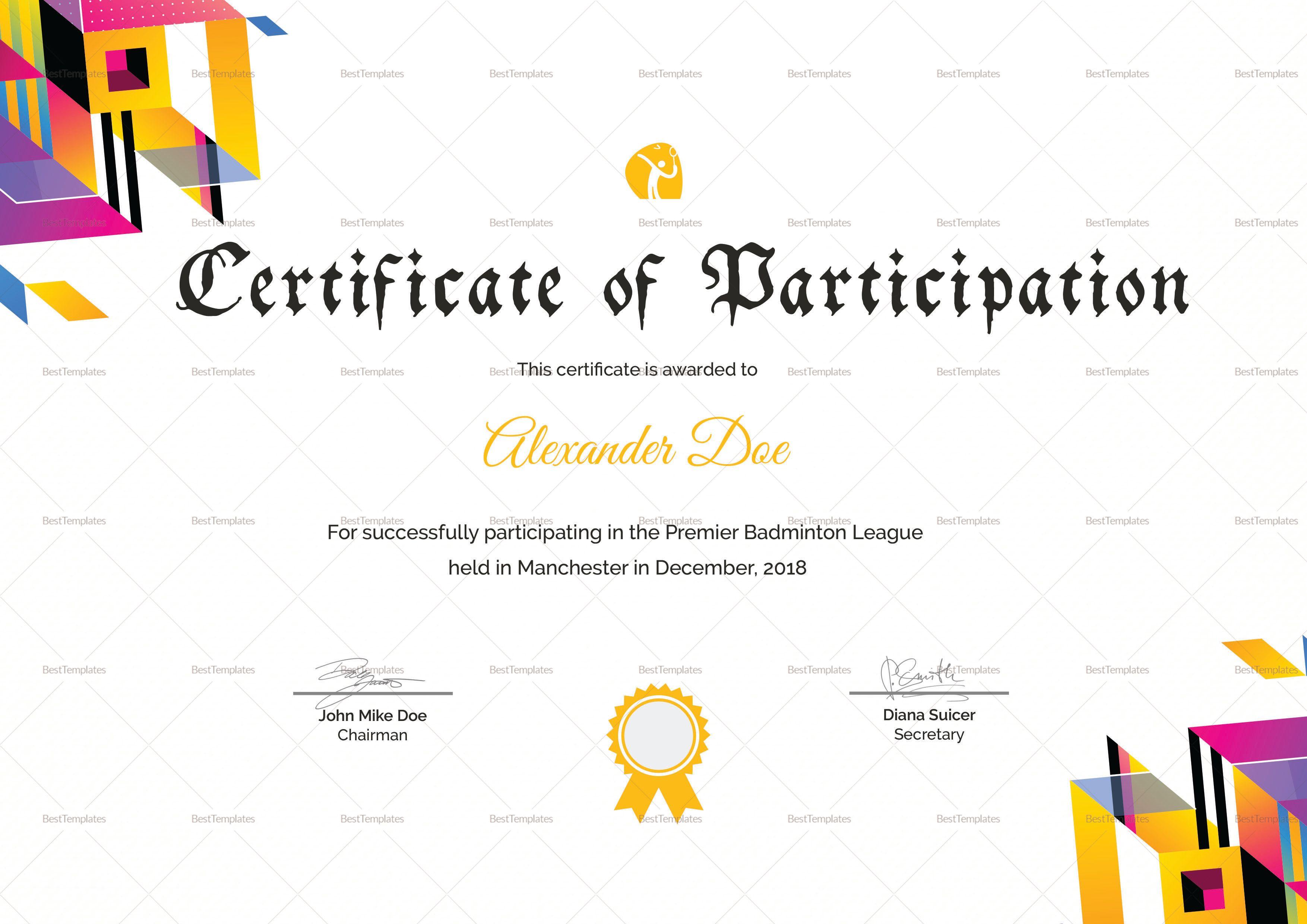 Badminton Participation Certificate Template