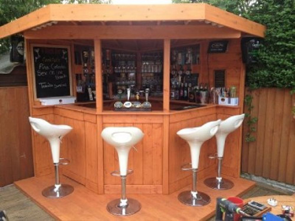 Deluxe 7ft Corner Bar Garden Entertainment Area Uk Delivery From 28 Patio Structures Shade Sheds Ebay