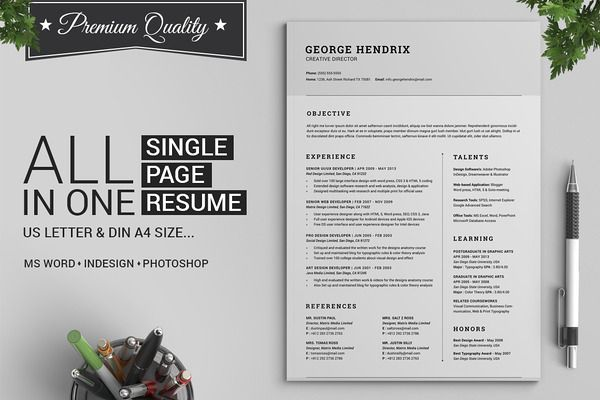 All in One Single Page Resume Pack - Resumes - 1 Architecture
