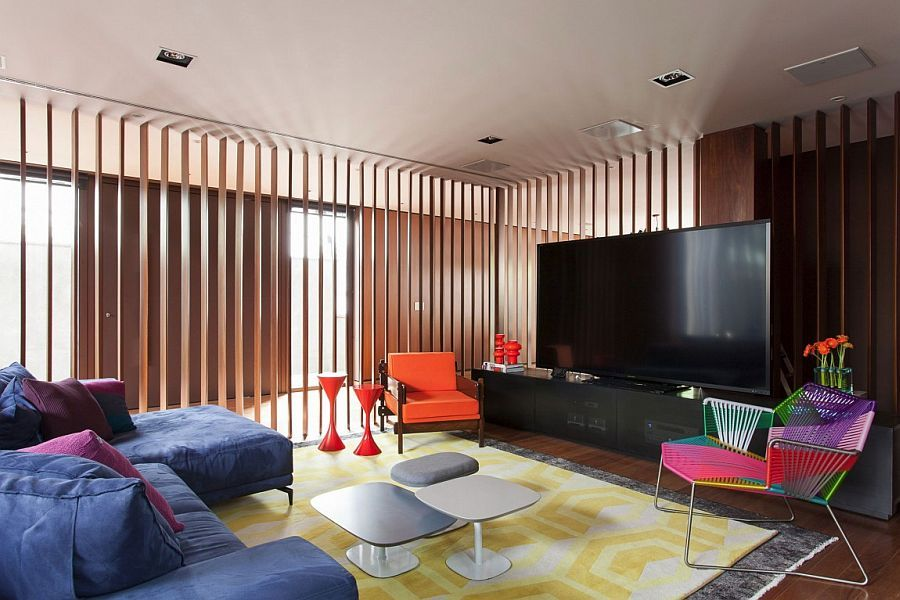 Tv Room Removed From The Living Area Using Wooden Slats  House Beauteous Living Room Design For Small Spaces Inspiration Design