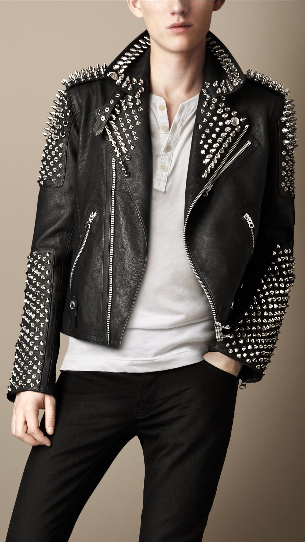 Men S Jackets Leather Bikers Bomber Quilted Burberry United States Studded Leather Jacket Leather Jacket Brown Leather Jacket Men [ 1849 x 1040 Pixel ]