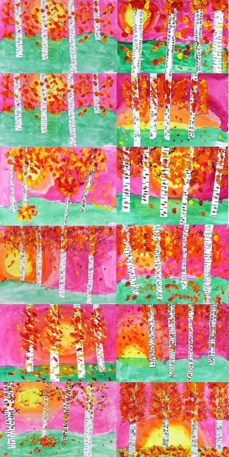 Kunst in der grundschule herbstbirken kunst grundschule for Pinterest malen