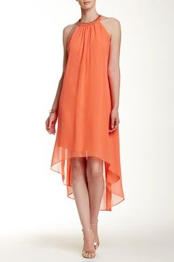 Open Back Hi-Lo Halter Dress