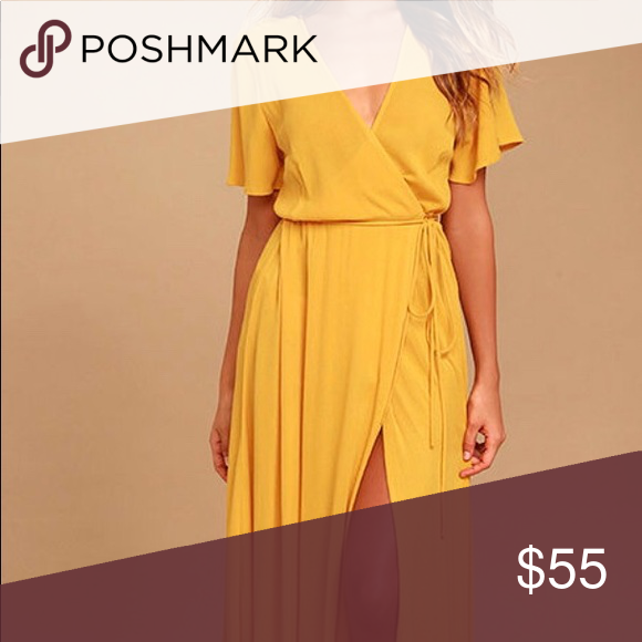 c266e6065d0a15 Golden Wrap Dress We re forever grateful we found the Much Obliged Golden  Yellow Wrap