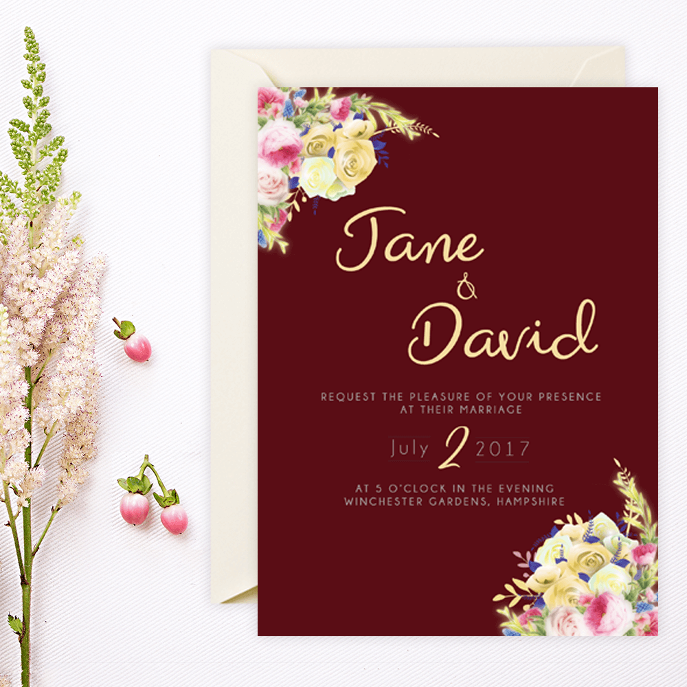Floral Maroon Wedding Invitation with matching Save the Date, RSVP ...