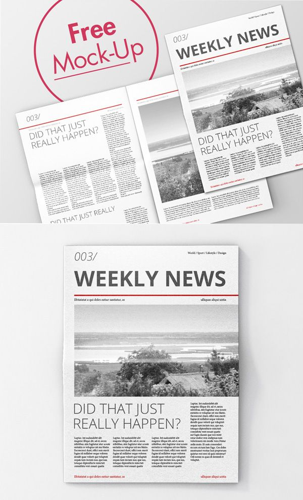 Free High Quality Newspaper Psd Mockups  Mockup Templates For