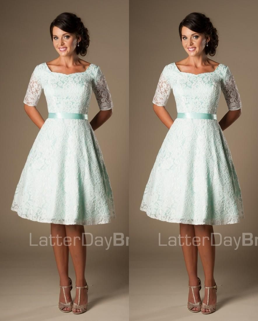 Vintage Mint Lace Knee Length Short Modest Bridesmaid Dresses With Half  Sleeves… 442168d79552