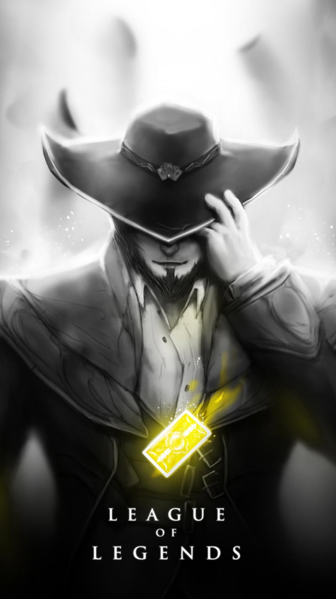 twisted fate skin black and white android, iphone wallpaper, mobile