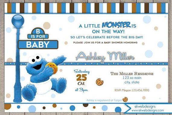 Cookie Monster Baby Shower Invitation A Little Monster Monster Baby Shower Invitations Monster Baby Showers Baby Shower Invitations