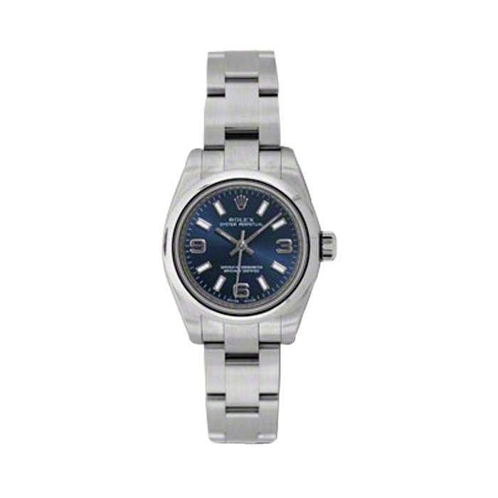 Rolex New Style Ladies Oyster Perpetual Blue Arabic/Index Dial - Domed/Smooth Bezel - Oyster Bracelet 26 MM 176200 (176200-BLAIO) - See more at: http://www.swiss-wrist.com/ladies-rolex/ladies-oyster-perpetual-non-date/176200-blaio.html#sthash.qI912e4t.dpuf