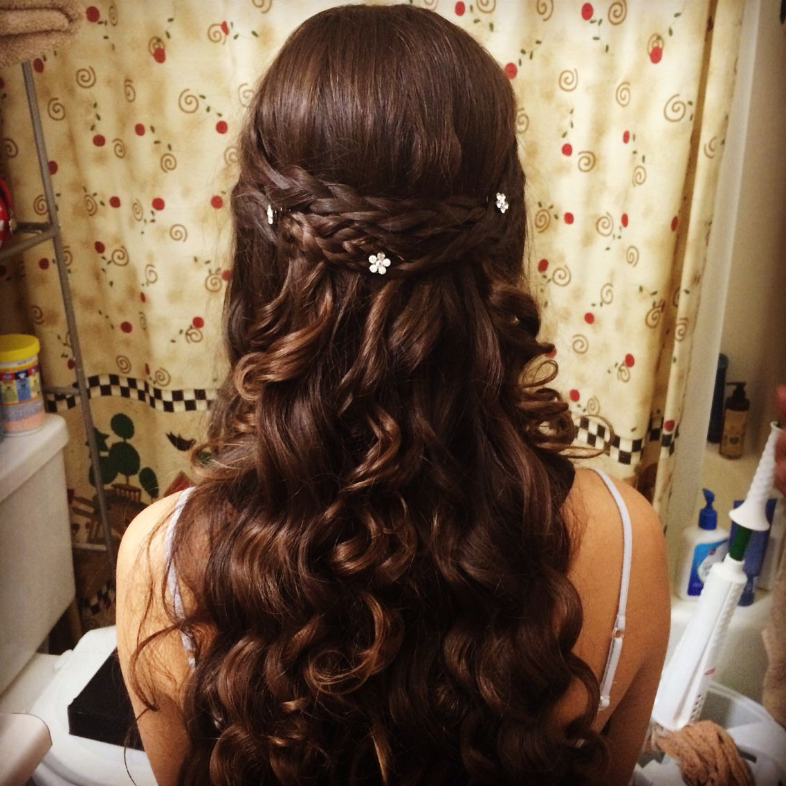 homecoming half up/ half down do! curl and then braid fronts, pull