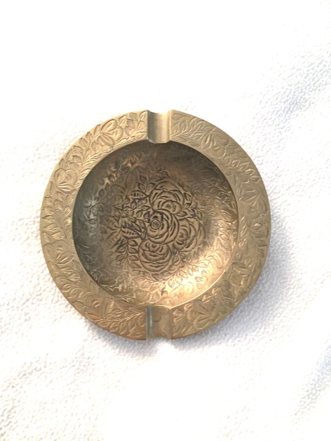 Vintage brass teapot ashtray made in india ornate etched