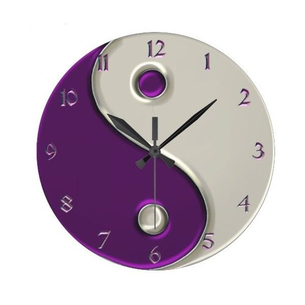 Yin Yang Clock in Purple and While (48 CAD) ❤ liked on Polyvore featuring home, home decor, clocks, purple home decor, purple clock and purple home accessories