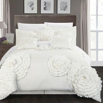 Chic Home Belinda 7 Piece Comforter Set Size: Queen, Color: White