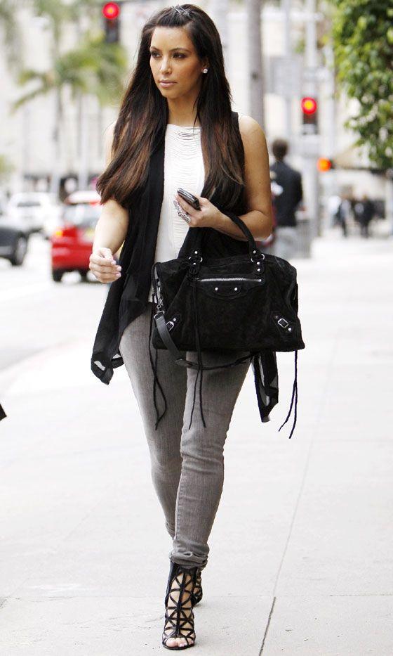 191e1d214441 Kim Kardashian Does Off-Duty Cool Carrying A Balenciaga Bag In LA